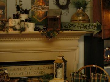 The Farmer's Daughters antiques on a mantle
