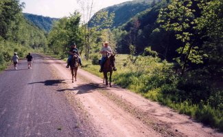 Horseback riding on the Pine Creek Rail Trail