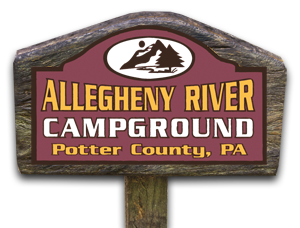 Allegheny River Campground sign in Visit Potter-Tioga