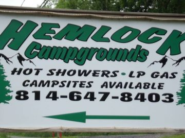 Hemlock Campground of Potter County sign